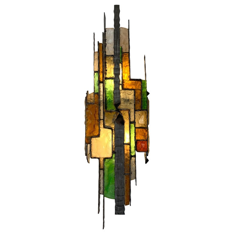 Large Hammered Glass Sconce by Longobard, Italy, 1970s For Sale