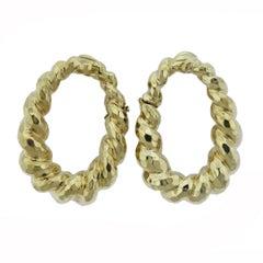 Large Hammered Gold Twist Hoop Earrings