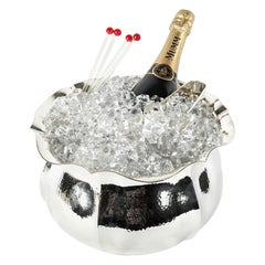 Large Hammered Silver Plated Champagne Cooler