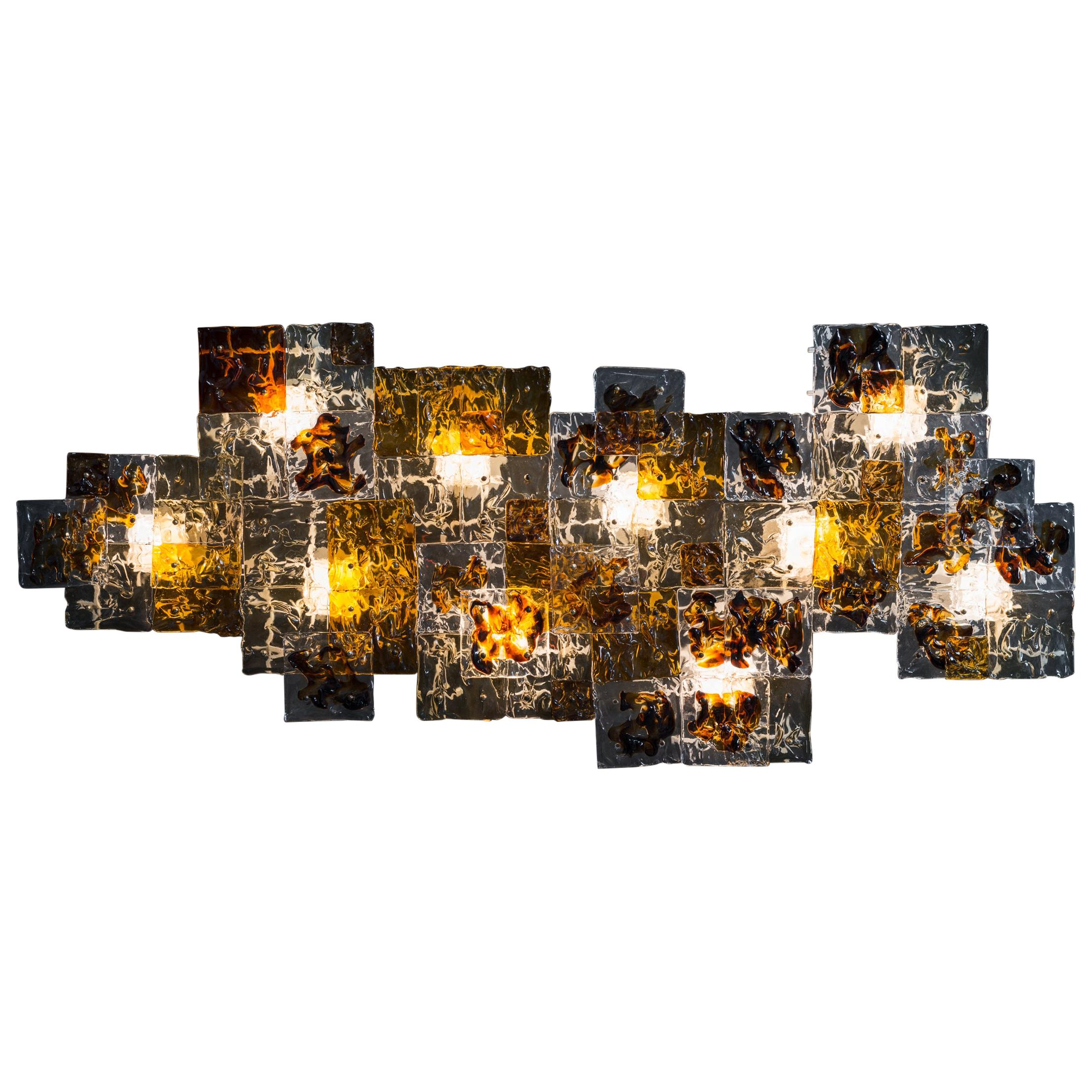 Large Hand-Blown Glass Patchwork Wall Sconce by Toni Zuccheri for Venini, 1970s