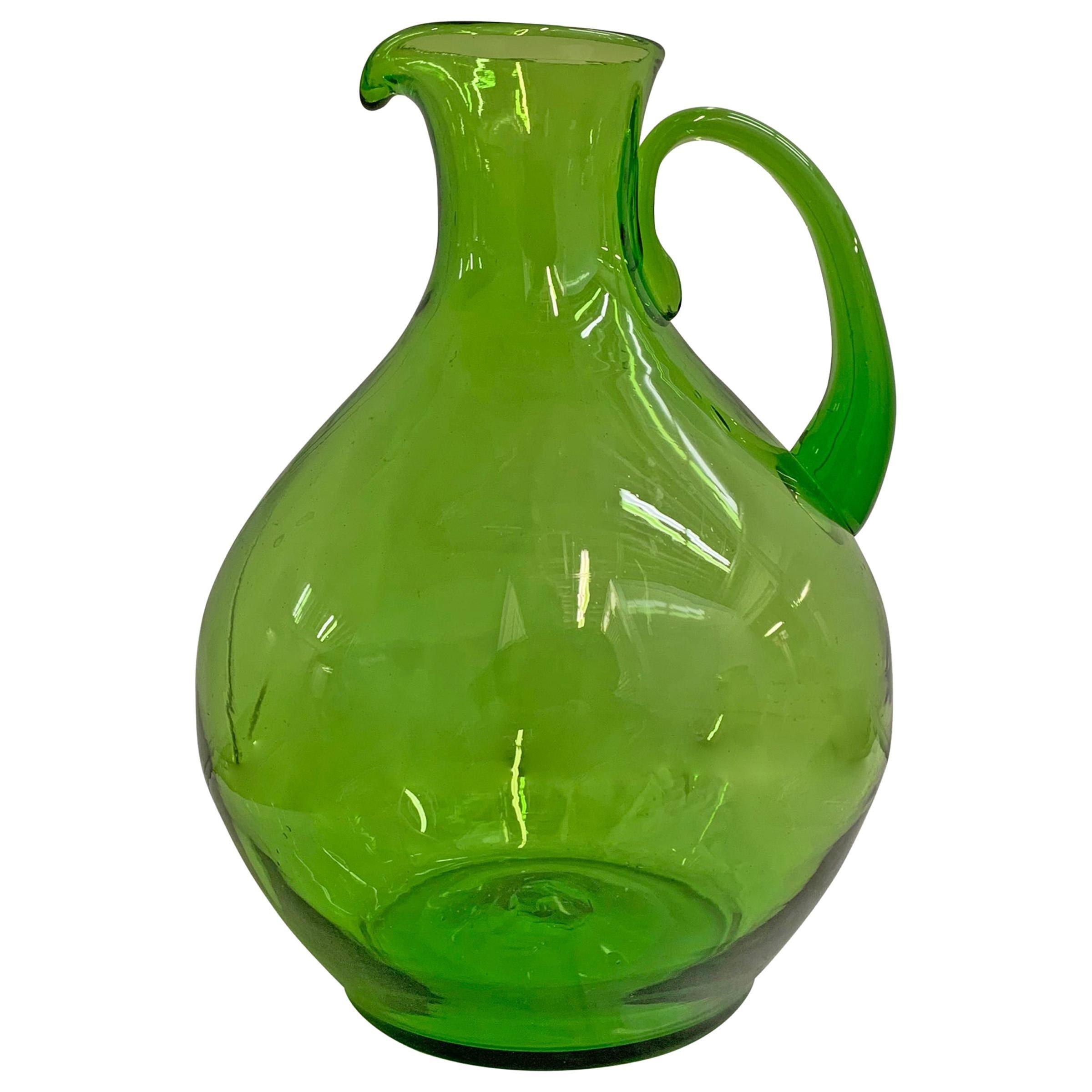 Large Hand Blown Green Glass Pitcher
