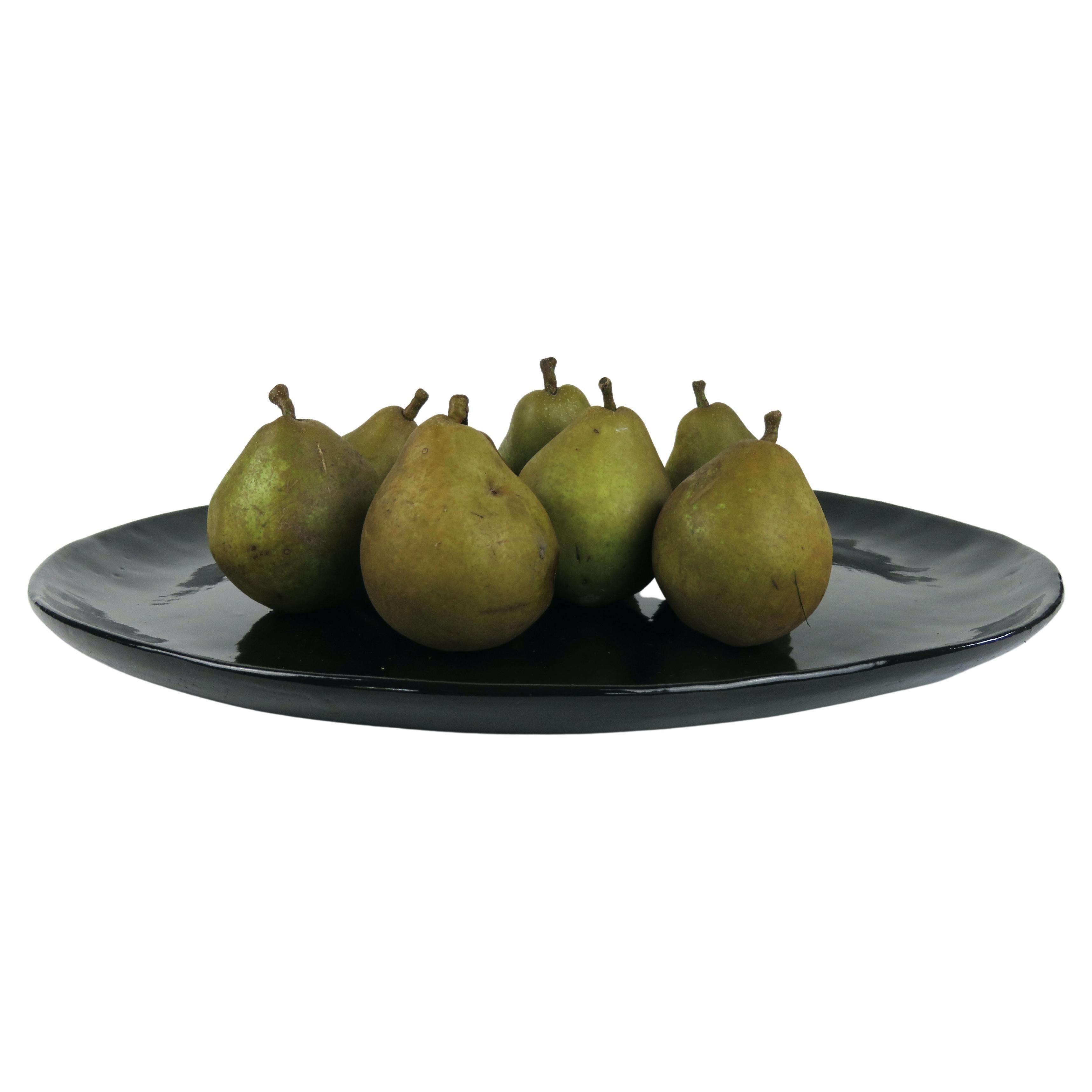 Large Hand Built Ceramic Platter in Black Gloss Glaze
