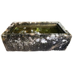 Large Hand Carved 18th Century French Limestone Trough with Patina