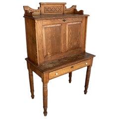 Large Hand Carved Antique Edwardian Secretary Desk