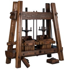Large Hand-Carved Antique European Oak Wine Press