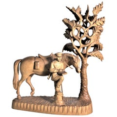 Large Hand Carved Black Forest Military Soldier & His Horse Under a Shade Tree