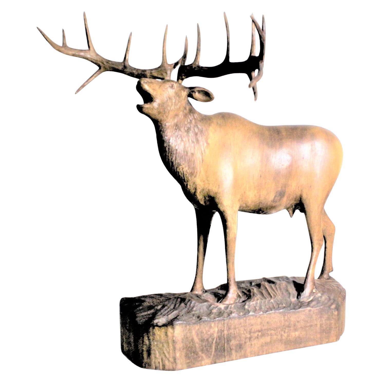 Large Hand Carved Black Forest Standing Stag Deer Sculpture with Huge Antlers