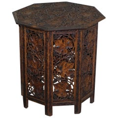 Large Hand Carved Burmese Hardwood Antique Octagonal Side End Lamp Wine Table