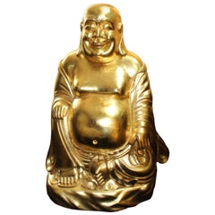 Large Hand Carved Giltwood Seated Laughing Buddha