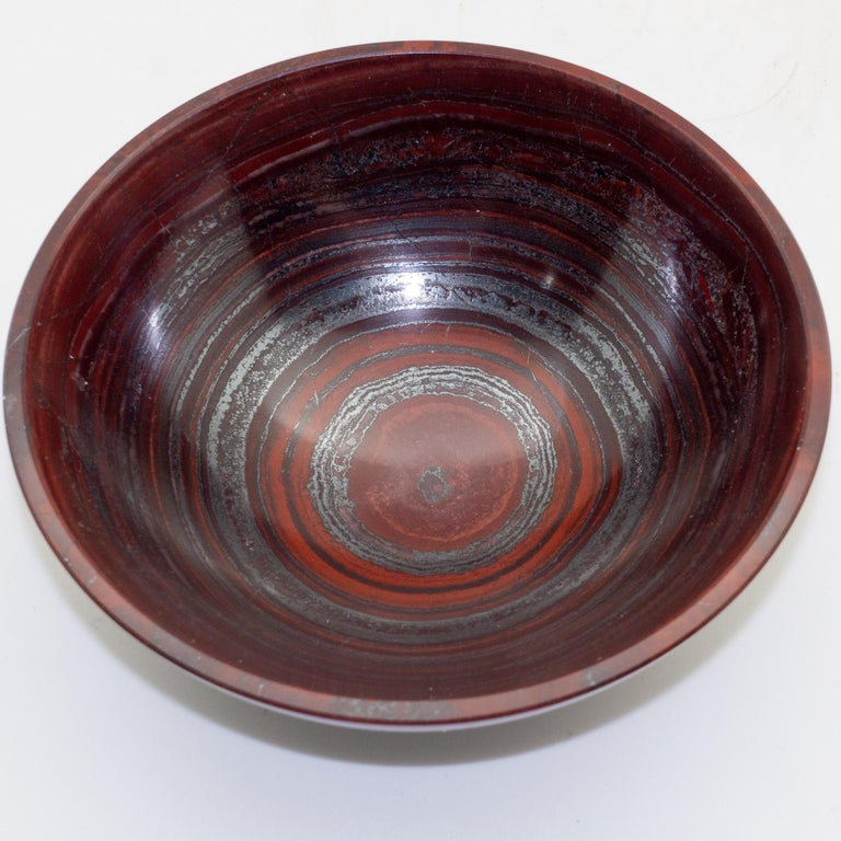 Grand Tour Large Hand Carved Haematite-Jasper Bowl For Sale