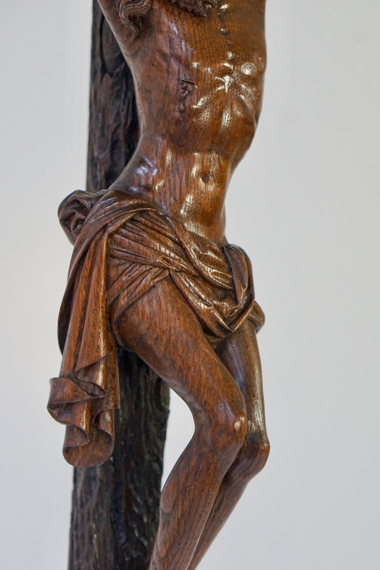 Large Hand Carved, Late 19th Century Corpus of Christ or Crucifix For Sale 3