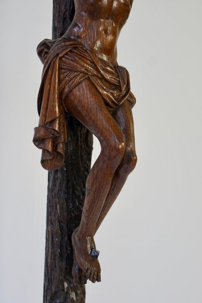 Large Hand Carved, Late 19th Century Corpus of Christ or Crucifix For Sale 4