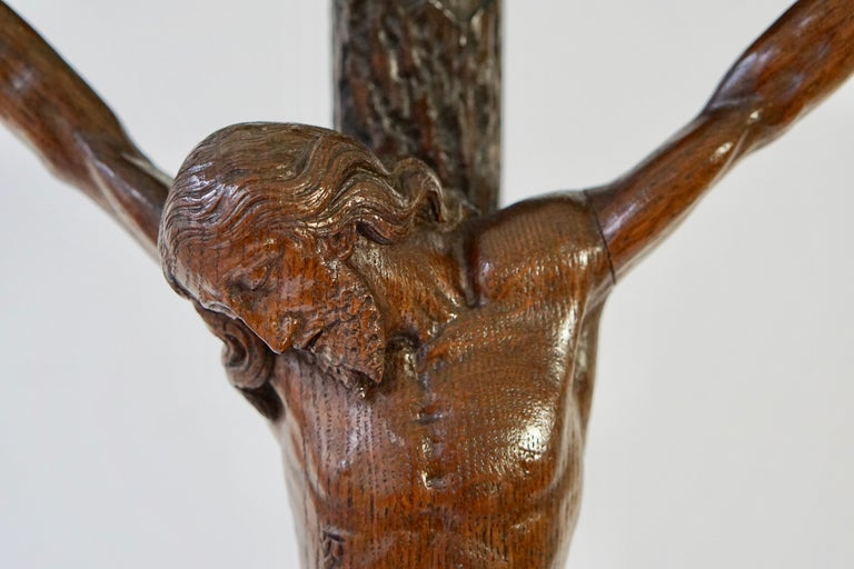 Large Hand Carved, Late 19th Century Corpus of Christ or Crucifix For Sale 5