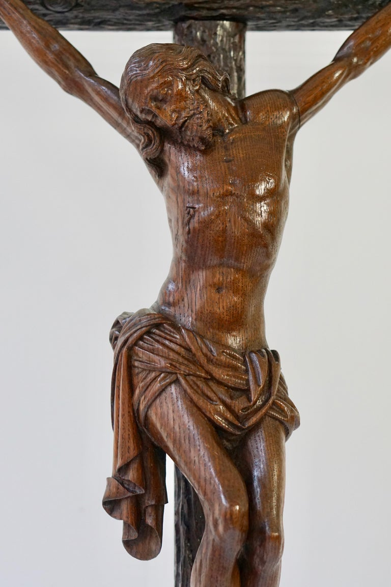 Large Hand Carved, Late 19th Century Corpus of Christ or Crucifix For Sale 6
