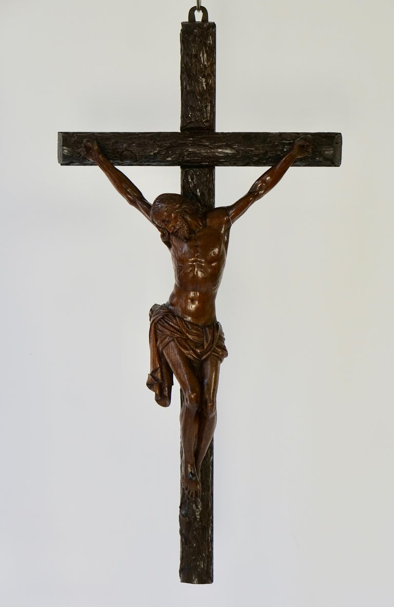 Folk Art Large Hand Carved, Late 19th Century Corpus of Christ or Crucifix For Sale