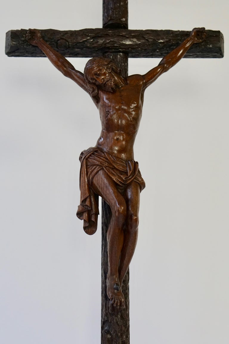 Italian Large Hand Carved, Late 19th Century Corpus of Christ or Crucifix For Sale