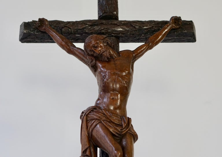 Hand-Carved Large Hand Carved, Late 19th Century Corpus of Christ or Crucifix For Sale