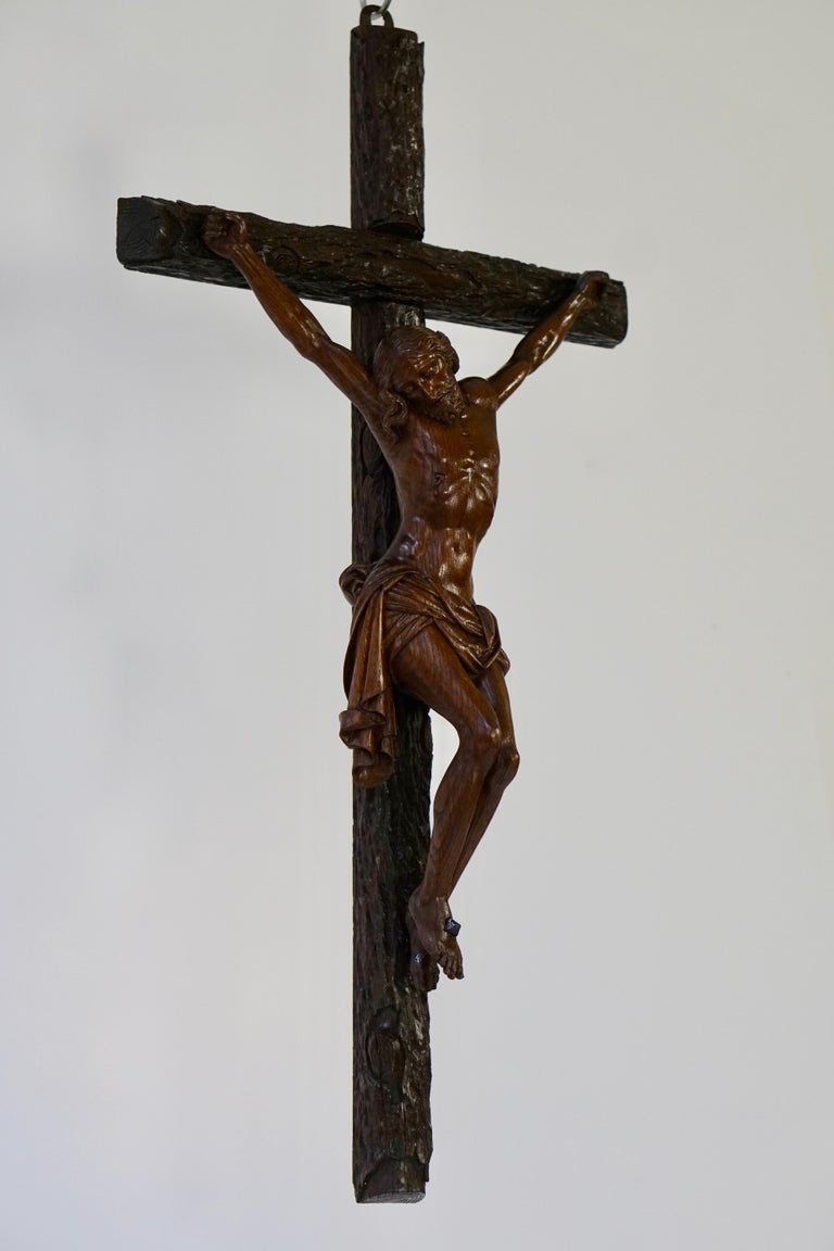 Wood Large Hand Carved, Late 19th Century Corpus of Christ or Crucifix For Sale