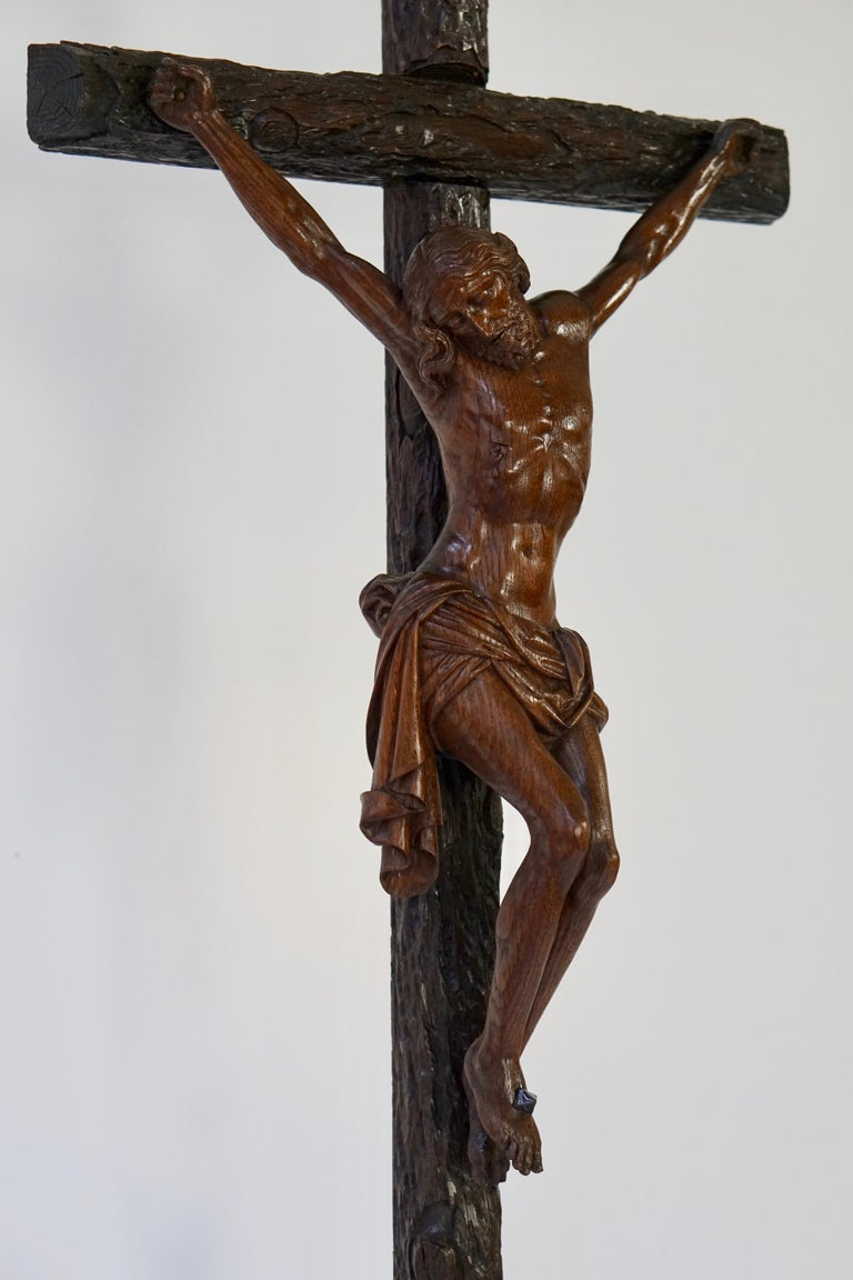 Large Hand Carved, Late 19th Century Corpus of Christ or Crucifix For Sale 1