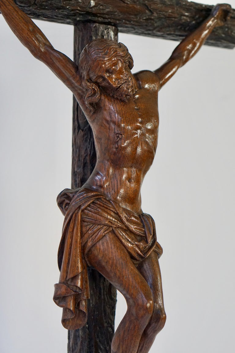 Large Hand Carved, Late 19th Century Corpus of Christ or Crucifix For Sale 2