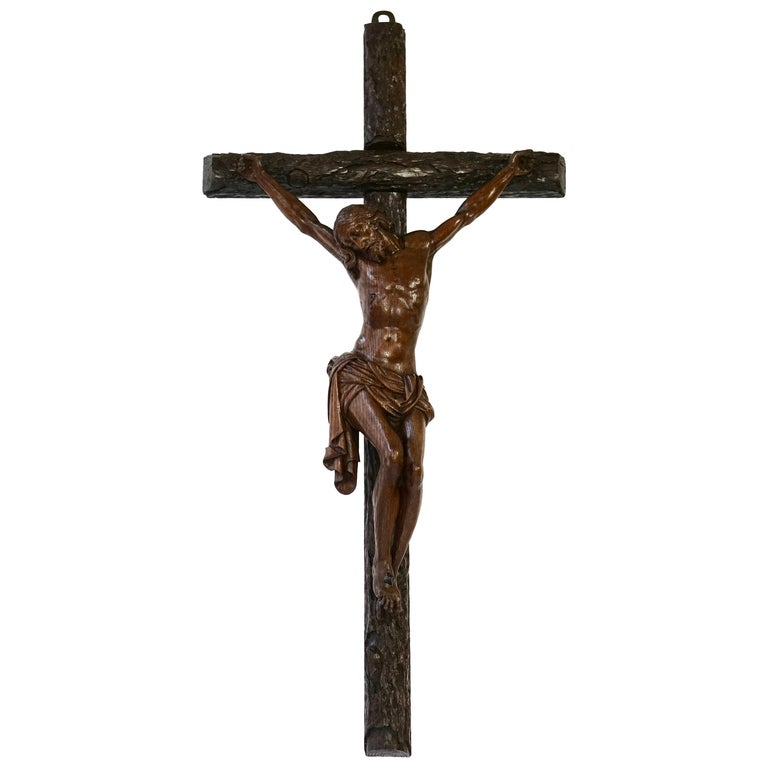 Large Hand Carved, Late 19th Century Corpus of Christ or Crucifix For Sale