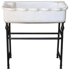 Large Hand Carved Marble Sink on Custom Iron Stand