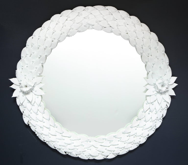 Large Hand Carved White Murano Glass Leaf Round Mirror, Italy, Pair Available For Sale 1