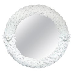 Large Hand Carved Opaque White Glass Leaf Round Mirror, Italy, Pair Available