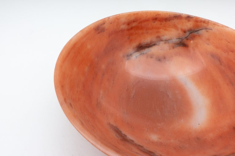 Large Hand-Carved Orange Aventurine Bowl from India In Excellent Condition For Sale In New York, NY