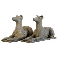 Large Hand Carved Quality Solid Stone Dog Statues Mid-20th Century Garden, Pair
