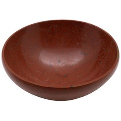 Large Hand-Carved Red Jasper Bowl from India