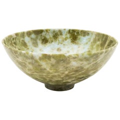 Large Hand Carved Serpentine Bowl from India