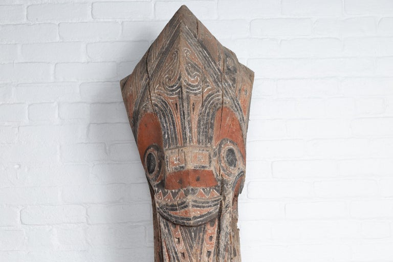 Indonesian Large Hand Carved Singa Singa Tribal Carving from the Batak People, Sumatra For Sale