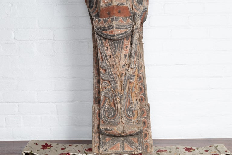 Polychromed Large Hand Carved Singa Singa Tribal Carving from the Batak People, Sumatra For Sale