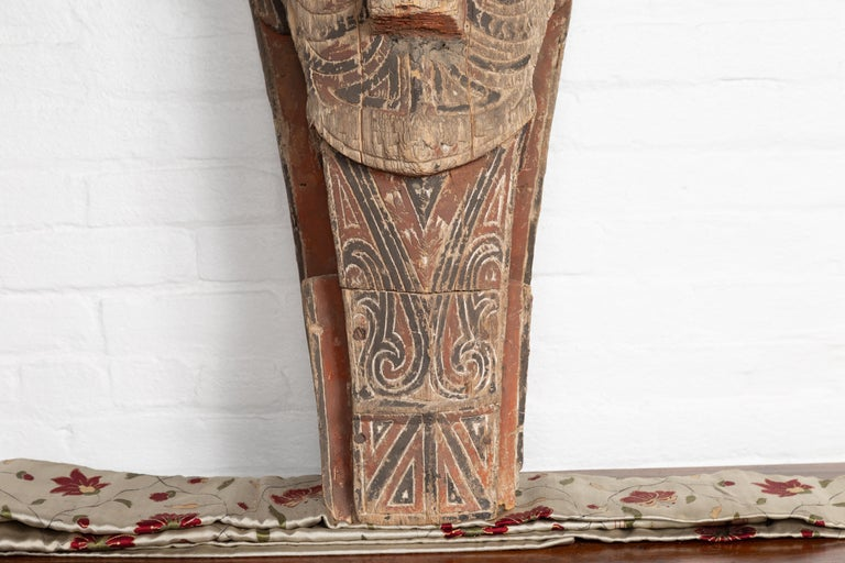 Large Hand Carved Singa Singa Tribal Carving from the Batak People, Sumatra In Fair Condition For Sale In Yonkers, NY