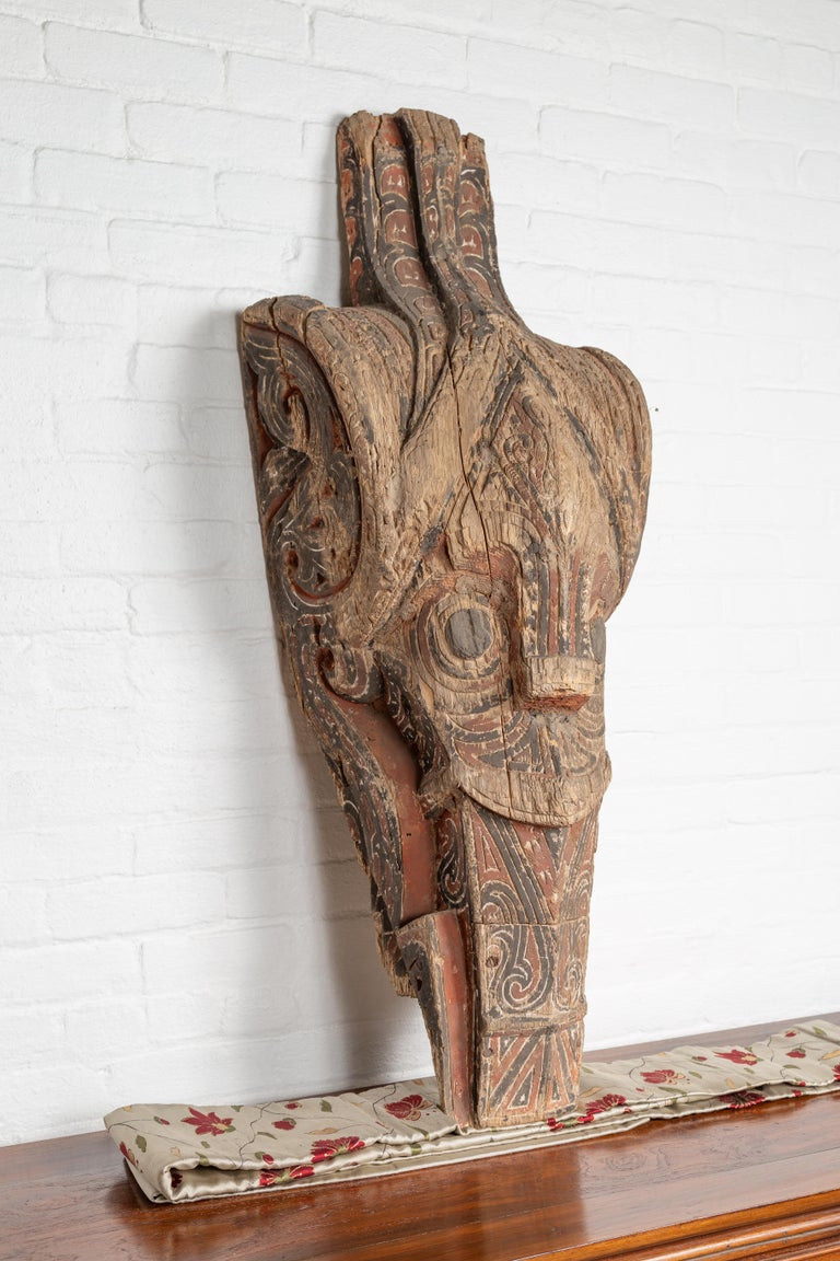 19th Century Large Hand Carved Singa Singa Tribal Carving from the Batak People, Sumatra For Sale