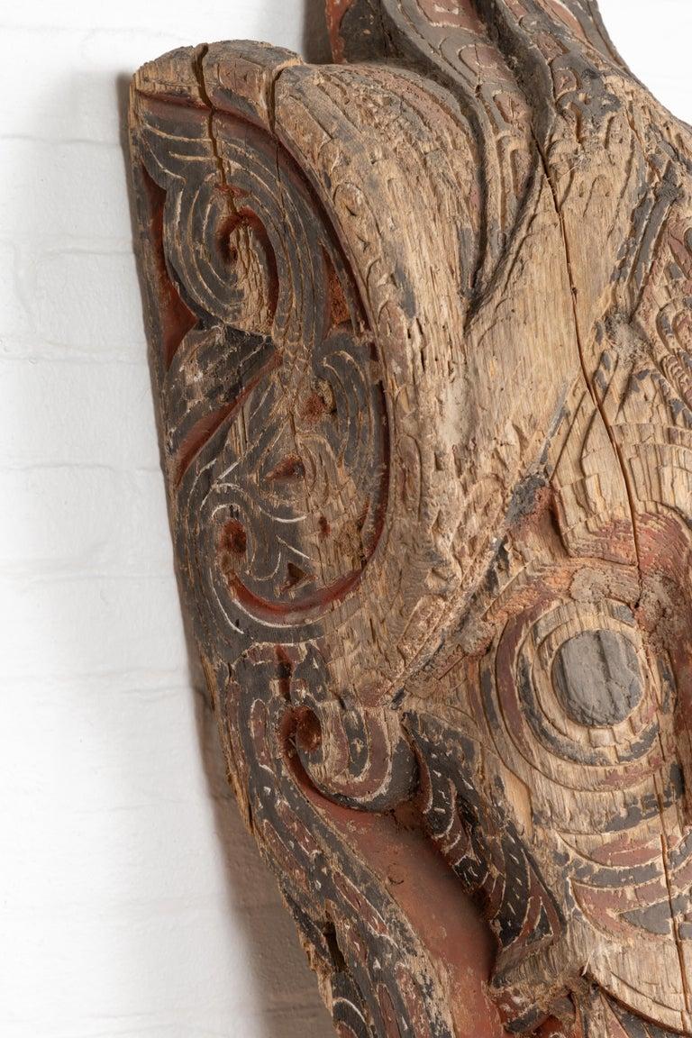 Wood Large Hand Carved Singa Singa Tribal Carving from the Batak People, Sumatra For Sale
