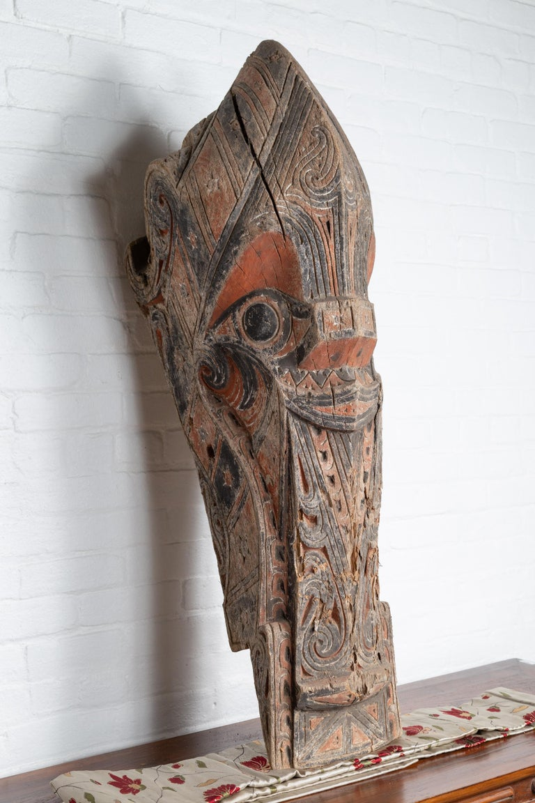 Wood Large Hand Carved Singa Singa Tribal Carving from the Batak People, Sumatra For Sale