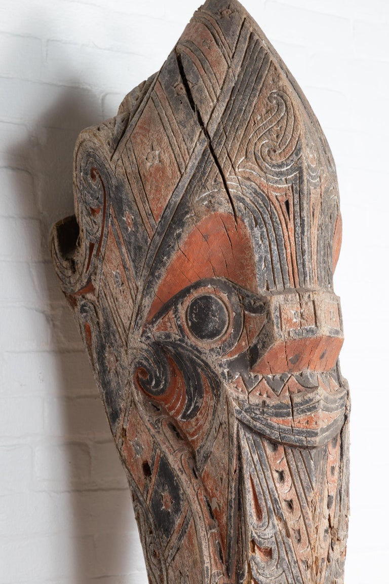 Large Hand Carved Singa Singa Tribal Carving from the Batak People, Sumatra For Sale 1