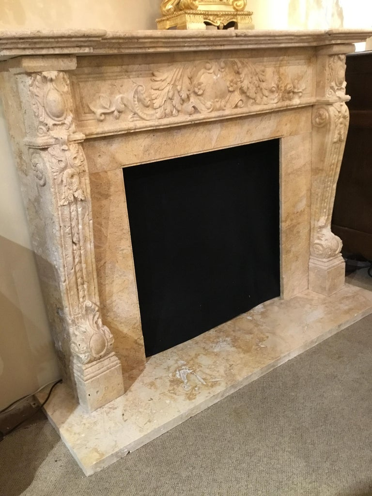 Large Hand Carved Travertine Mantel In Pale Golden Hue For Sale At 1stdibs