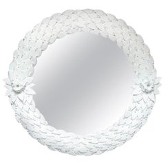 Large Hand Carved White Murano Glass Leaf Round Mirror, Italy, Pair Available