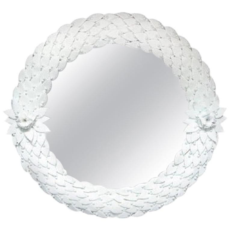 Large Hand Carved White Murano Glass Leaf Round Mirror, Italy, Pair Available For Sale