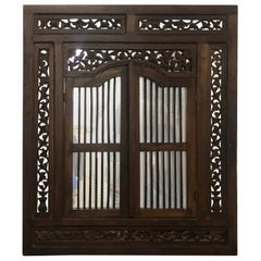 Large Hand Carved Wood Indian Wall Mirror