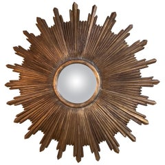 Large Hand Carved Wood Midcentury Sunburst Mirror