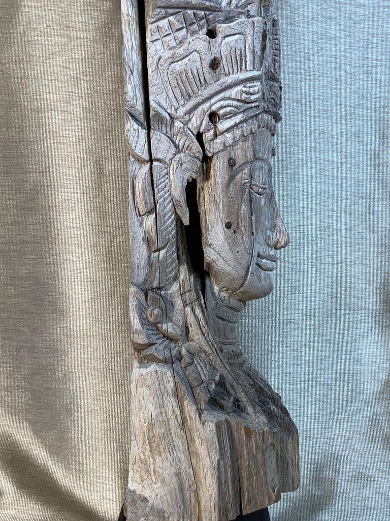 Large Hand Carved Wood Vintage Buddha Statue For Sale 8