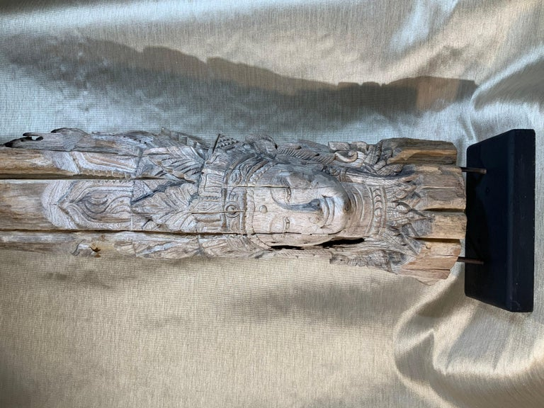 Large Hand Carved Wood Vintage Buddha Statue For Sale 10