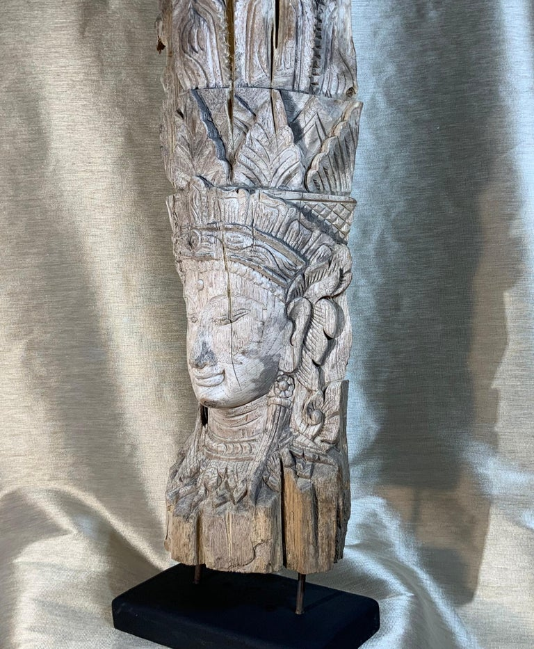Large Hand Carved Wood Vintage Buddha Statue For Sale 3