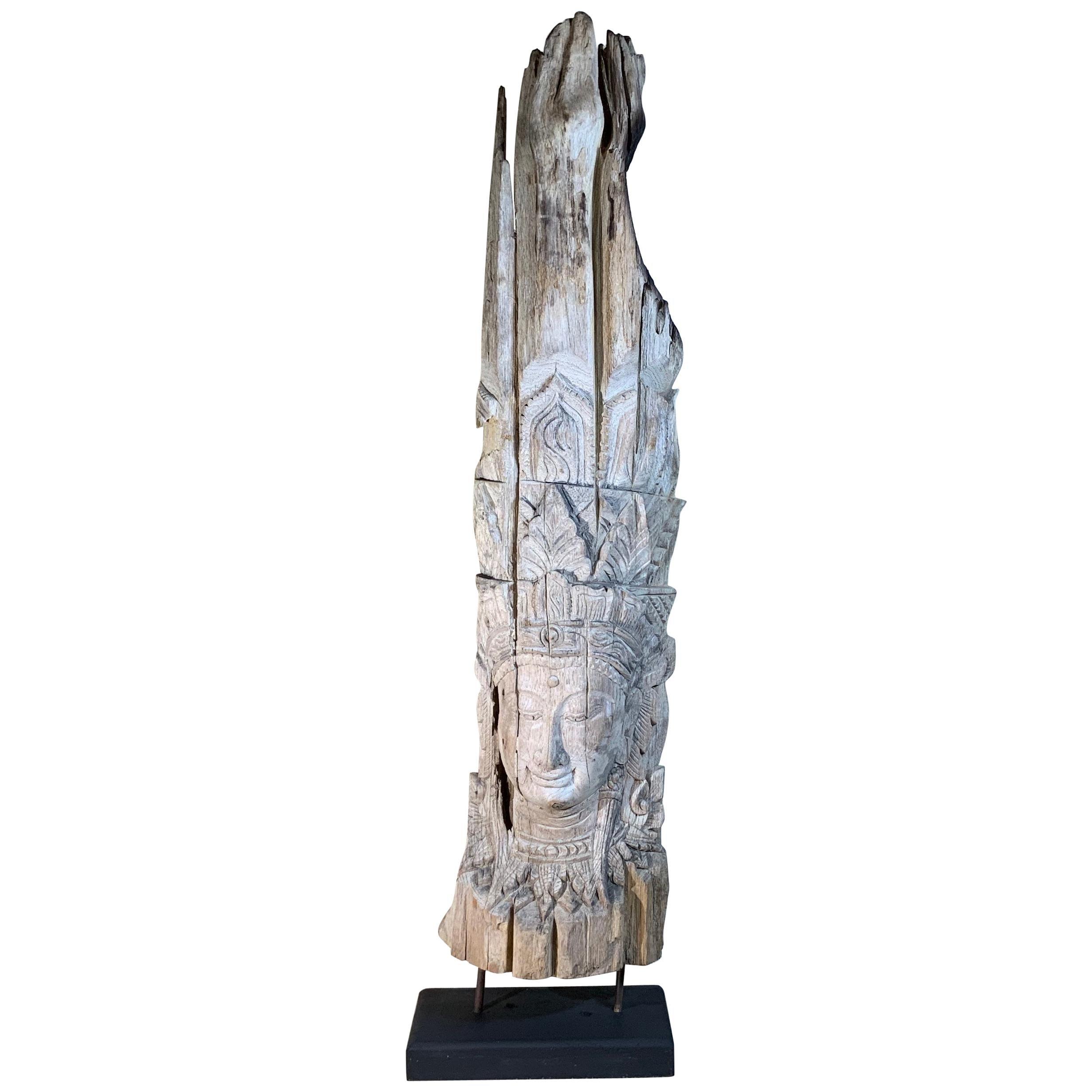Large Hand Carved Wood Vintage Buddha Statue