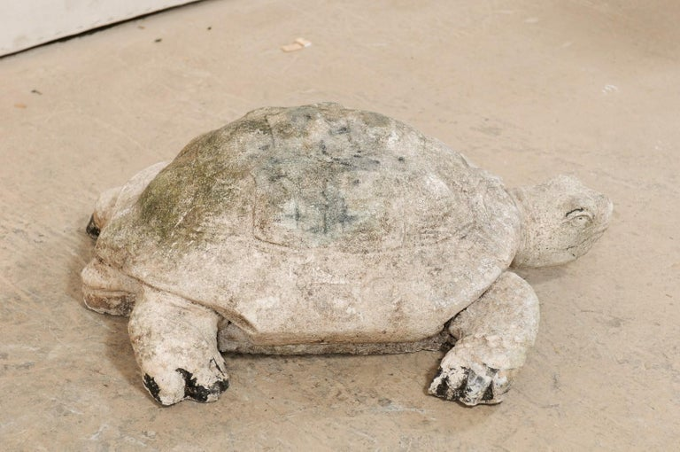 Large Hand-Cast Stone Box Turtle Garden Sculpture For Sale 4