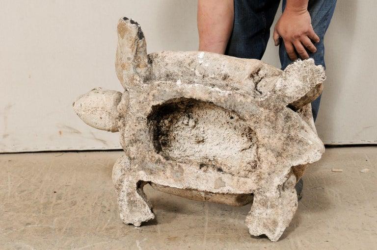 Large Hand-Cast Stone Box Turtle Garden Sculpture For Sale 5